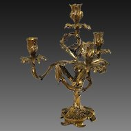 Vintage Louis XV Bronze Ornate Floral Leaf Motif 4-Light Candelabra Candlestick
