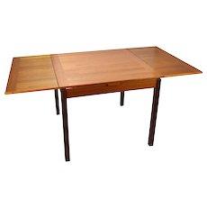 Danish Modern Ansager Mobler Teak Extending Draw Leaf Dining Table.