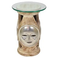 Vintage Unusual Silver Faces Masks Side Accent Table