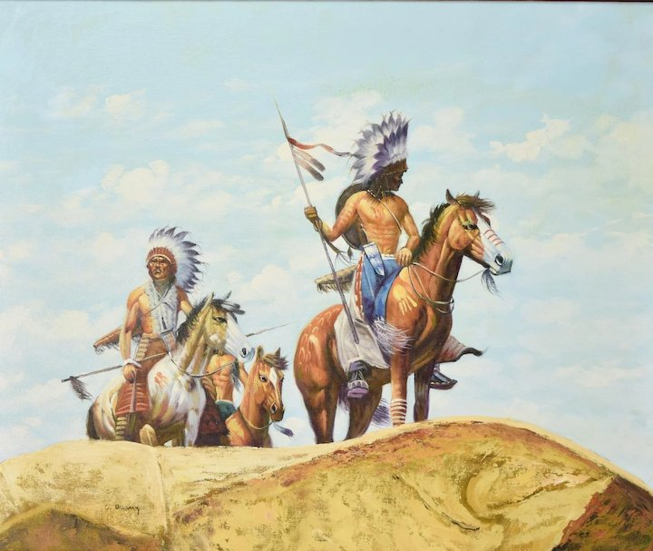 Vintage Western Painting Indian Native American Warriors On Horseback Sgnd Quany