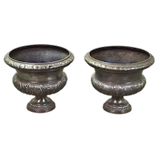 Pair Late-Victorian Polished Cast Iron Planter Urns
