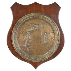 Rare Pompeo Coppini Bronze Plaque WWI Doughboy Angel and Lady Liberty