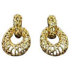 Estate Pair 14k Solid Yellow Gold 1970's Organic Biomorphic Hoop Earrings