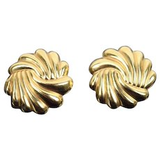 Estate Pair 14k Solid Yellow Gold 1970s Swirl Pattern Button Earrings