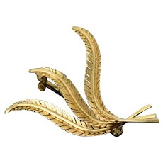Estate Brooch 18k Solid Gold Fern Fronds or Three Feathers Pin