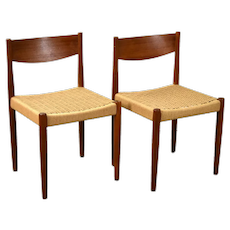 Pair Vintage Danish Modern Cord Dining Chairs Poul Volther for Frem Rojle