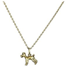 Vintage 14k Solid Yellow Gold French Poodle Charm Pendant Necklace