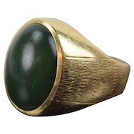 Vintage 1970's Men's or Women's 14k Solid Gold Ring w Jade Cabochon Size 6.5