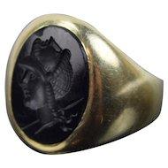 Vintage 1960's Men's 14k Solid Gold Ring w Onyx Intaglio Head of Roman Warrior