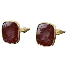 Vintage Cufflinks 14k Solid Yellow Gold w Carved Carnelian Roman Soldiers