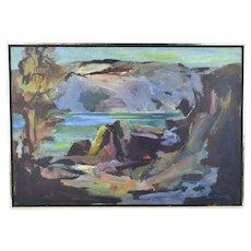 Vintage Mid Century Modern Abstracted Dark Landscape Oil Painting