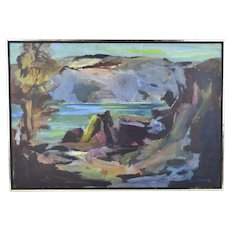 Vintage Mid Century Modern Abstracted Dark Landscape Oil Painting