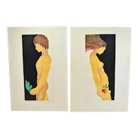 """1970's Mod Limited Edition Lithographs """"Adam"""" & """"Eve"""" Nudes Signed"""