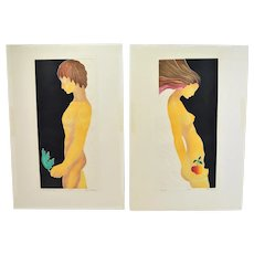 "1970's Mod Limited Edition Lithographs ""Adam"" & ""Eve"" Nudes Signed"