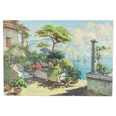 Italian Impressionist Painting Girl Reading Book Mediterranean Terrace Benelli