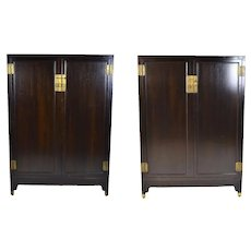 Pair Baker Furniture Co. Mid-Century Asian Style Ebonized Wardrobe Cabinet