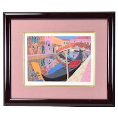 Vintage Modern L/E Japanese Woodblock Print Venice Gondola Yamaie Hisayuki