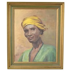 Vintage 1940's Painting Portrait of African American Woman Calia Marshall