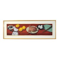 1985 Jane Fisher Oil Painting Still Life w Chicken Eggs & Lemon