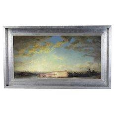"Steven Hudson ""A Sentimental Trombone"" Nude w Instrument Case Oil Painting"