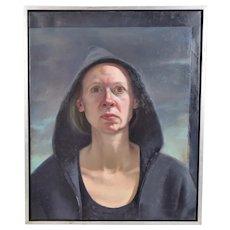 "Gaela Erwin ""Hooded Sweatshirt Self-Portrait"" 1997 Oil Painting Louisville Artist"