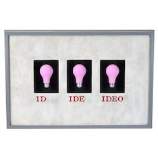 "1991 Woody Holliman Wall Sculpture ""Ideo"" Light Bulbs"