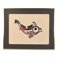 1973 Joe David 1st Nation Northwest Native American Serigraph Fish signed