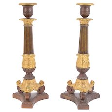 Pair Antique Gilt Bronze French Empire Candlesticks