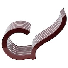 1986 Geometric Abstract Ribbon Sculpture Lucite & Red Lacquered Wood Witowski