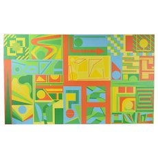 Vintage Large Abstract Modernist Geometric Oil Painting