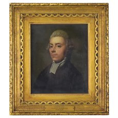 18th Century Miniature Oil Painting Portrait of Lawyer Attributed Francis Hayman