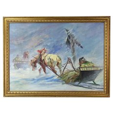 Russian Oil Painting Weary Horse Drawn Sleigh Passing Wayside Crucifix Altar