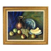 Vintage Mid-Century Italian Oil Painting Still Life Apples & Cantaloupe sgnd Fontana