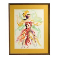 Ivan Whitkov 1958 Abstract Watercolor Painting Dancer in Costume Chicago Artist