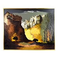 Vintage Mid-Century Modern Painting Cliff Top Houses Andres Escartin Spain