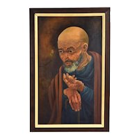 Vintage Mid-Century Oil Painting Contemplative Monk with Butterfly Kingo Fujii