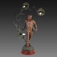 19th Century Spelter Bronze Newel Post Lamp Le Semeur Sowing Seeds