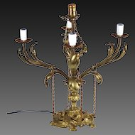 Vintage Early 20th Century Louis XV Style Electrified Candelabra Lamp