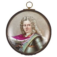 Hand Painted Porcelain Miniature Portrait Louis XIV King of France Bronze Frame
