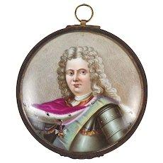 Hand Painted Porcelain Miniature Portrait Louis XIV King of France Bronze Frame