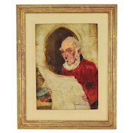 English Oil Painting on Board Retired Chelsea Pensioner Reading Newspaper