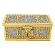 Vintage Art Nouveau Ornate Jewelry Casket w Cherubs Erhard & Sohne Germany