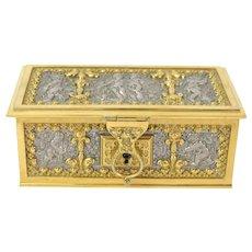 Vintage Art Nouveau Ornate Jewelry Casket w Cherubs Erhard & Sohne Germany