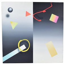 """Modernist """"Black Abstract Ball"""" Neon Acrylic Painting by William Anton NYC"""