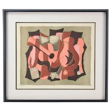 Agostini Mid-Century Modern Cubist Lithograph Guitar w Ace of Hearts Signed Numbered