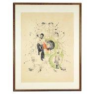 """1970's Tucker Bobst Surrealist Drawing """"Coke Is It!"""" Man Dancing"""