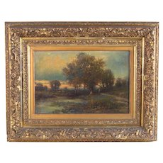 1800s American Landscape Oil Painting Joseph Antonio Hekking Detroit Label