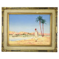 Orientalist Watercolor Algerian Red Hat Gold Earring at Water's Edge  Greig RBA