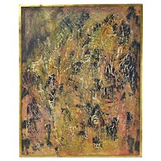 Vintage Mid-Century Modern Textural Abstract Oil Painting Peggy Zivi Chicago