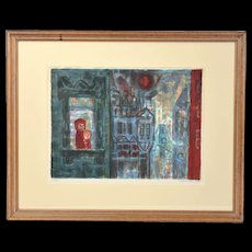 1954 Modern Abstract Lithograph Boy & Girl in City Window Eleanor Coen Chicago
